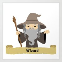 wizard Art Prints featuring wizard by dennisthebadger