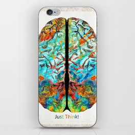 Colorful Brain Art - Just Think - By Sharon Cummings iPhone Skin