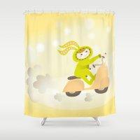 moto Shower Curtains featuring Zayaz & Moto by Olya Yang
