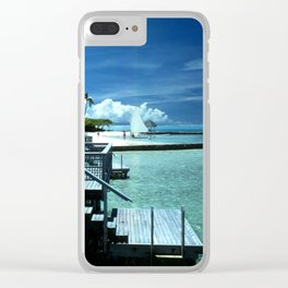 Steps Into Tropical Island Waters Clear iPhone Case