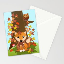 Fall fox, owls and leaves, vector illustration Stationery Cards