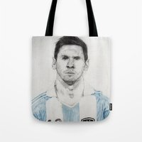messi Tote Bags featuring Lio Messi by Alan Myers