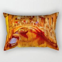 Golden Venice Canal Rectangular Pillow