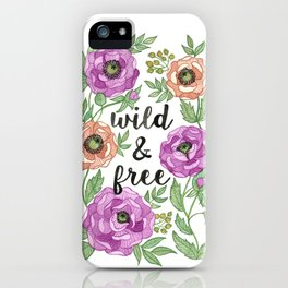 Wild & Free Watercolor Illustration iPhone Case