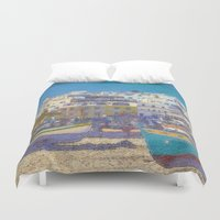 portugal Duvet Covers featuring Fisherman's beach Albufeira, Portugal by Michael Howard