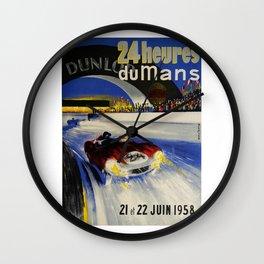 24hs Le Mans, 1958, vintage poster Wall Clock