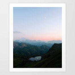 Calm Mountain Lake Sunset and Moon Reflection Art Print