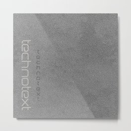 Grey Leather Technotext Metal Print