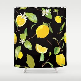 Watercolor Lemon & Leaves 7 Shower Curtain