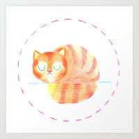 Gato Perezoso - Lazy Cat Art Print