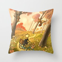 Bike Ride Through The Woods Throw Pillow