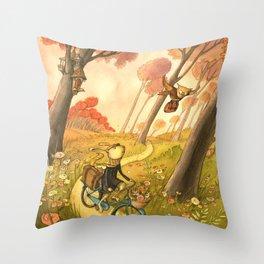 Bike Ride Through The Woods Throw Pillow