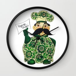 Little chef (green) in petrykivka style Wall Clock