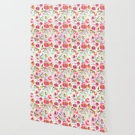 blush pink peonies watercolor fuchsia flowers Wallpaper