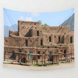 A Taos Pueblo Building Wall Tapestry