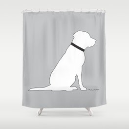 Modern Lab Silhouette Black and White Shower Curtain