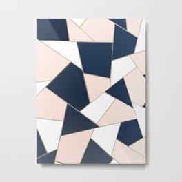 Navy Blue Blush White Gold Geometric Glam #1 #geo #decor #art #society6 Metal Print