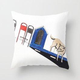 blue dog house Throw Pillow