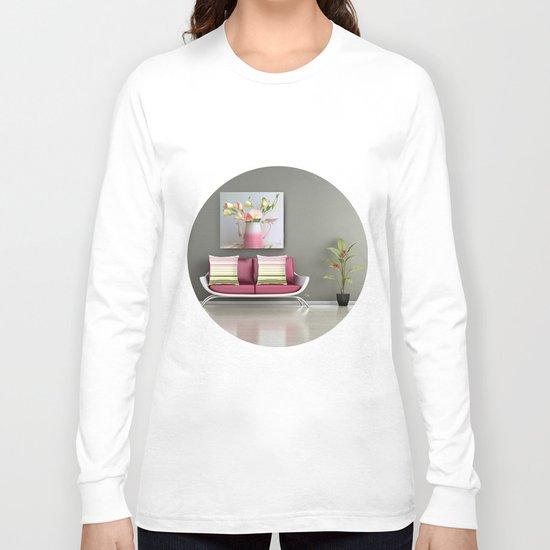 Coffee, Tea or Flowers Vignette Long Sleeve T-shirt