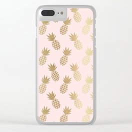 Pink & Gold Pineapples Clear iPhone Case