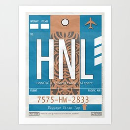 Vintage Honolulu Hawaii Luggage Tag Poster Art Print