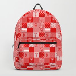 Jungle Friends Shades of Red Cheater Quilt Backpack