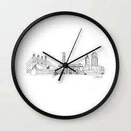 Kansas City Skyline Illustration Black Line Art Wall Clock