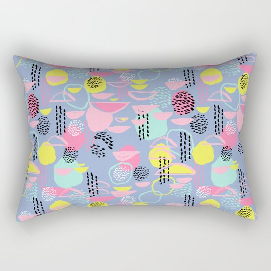 Abstract pattern nursery minimal pattern pink mint pastels and white abstract pattern design Rectangular Pillow