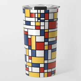 Mondrian De Stijl Pattern Travel Mug