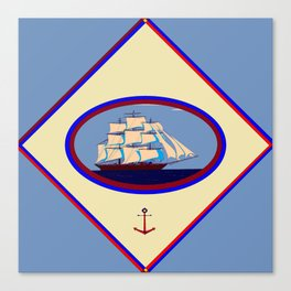 A Nautical Scene with Clipper Ship with Country Blue Background Canvas Print
