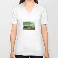 switzerland V-neck T-shirts featuring Pier, Basel, Switzerland  by PRETTY BONES LEE