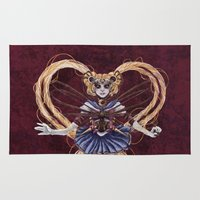 "sailormoon Area & Throw Rugs featuring Steampunk Sailormoon by Barbora ""Mad Alice"" Urbankova"