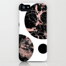 Geometric - Circles, Black Marble Rose Gold iPhone Case