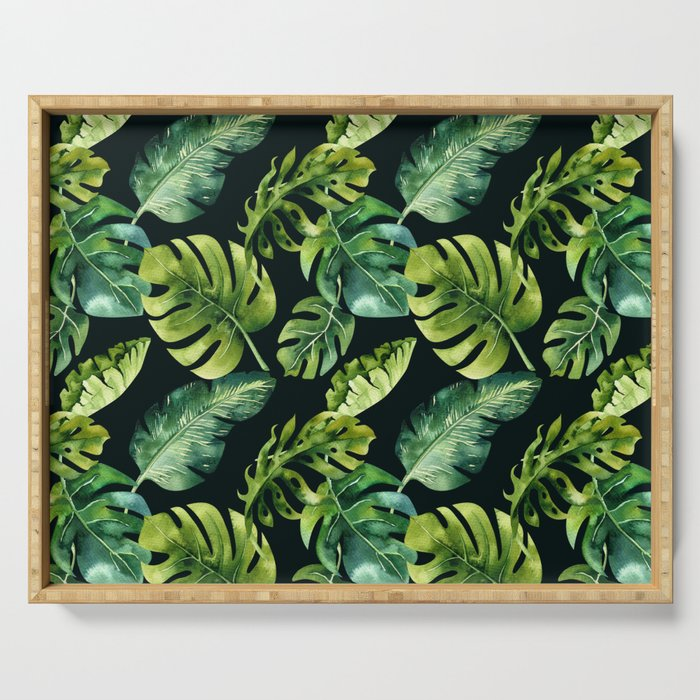 Watercolor Botanical Tropical Palm Leaves on Solid Black Background Serving Tray