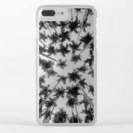 Above Palm Trees (Black and White) Clear iPhone Case