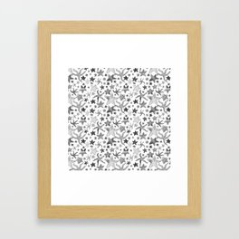 Grey Starfish Pattern - Dark Framed Art Print