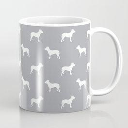 Pitbull grey and white pitbulls silhouette minimal dog pattern dog breeds dog gifts Coffee Mug