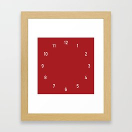 Numbers Clock - Red Framed Art Print
