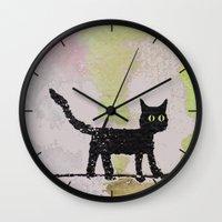 black cat Wall Clocks featuring Black Cat by Brontosaurus