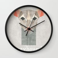 greyhound Wall Clocks featuring Greyhound  by Alice Maclean Smith