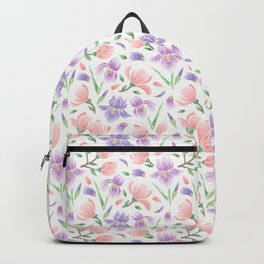 Magnolia and Iris Embroidery Style Backpack