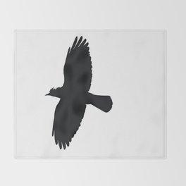 Jackdaw In Flight Silhouette Throw Blanket