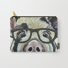 Pig with Glasses, Cute Farm Art Carry-All Pouch
