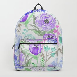 Hand painted lavender lilac blue watercolor flowers Backpack