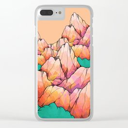 A warm mountain view Clear iPhone Case