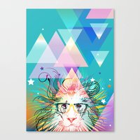 hipster lion Canvas Prints featuring Lion by Irmak Akcadogan
