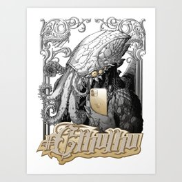 #Cthulhu with iPhone  (black and gold version) Art Print