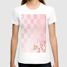 sakura flower floral pink star plaid wave chevron T-shirt