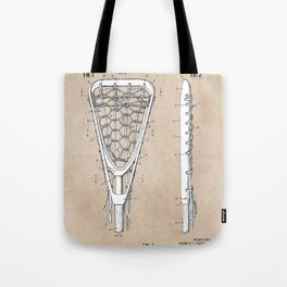 patent art Tucker Lacrosse stick 1967 Tote Bag