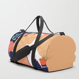 Girl with flamingo and Henri Matisse inspired decoration, vector illustration, blue Duffle Bag